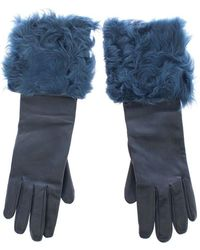 Dolce & Gabbana Leather Fur Logo Wrist Gloves - Blauw