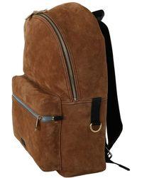 Dolce & Gabbana Suede School Travel Backpack Borse Leather Bag Marrón
