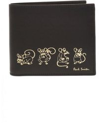 Paul Smith Printed Leather Wallet - Zwart