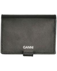 Ganni Textured Leather Mini Wallet - Noir