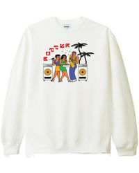 Butter Goods Dance Hall Crewneck Sweater Bone Fix - Weiß