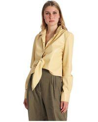Erika Cavallini Semi Couture Camicia Con Fiocco In Ecopelle - Geel
