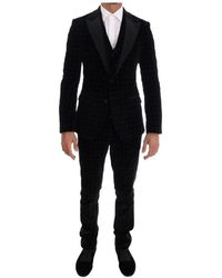 Dolce & Gabbana Velvet Slim Floral Embroidered Suit - Schwarz