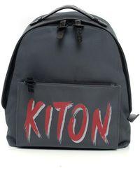 Kiton Leather and cordura rucksack - Grigio