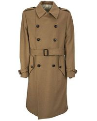 Lardini Double-breasted camel trench coat with belt - Marrone