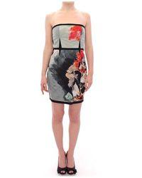 Sachin & Babi Strapless Silk Floral Bubble Mini Shift Dress - Gris