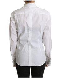 Dolce & Gabbana Shirt Ruffle Long Sleeves Blanco