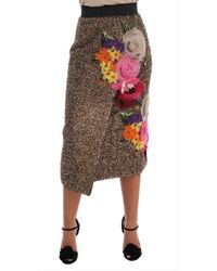 Dolce & Gabbana Floral Silk Onder De Knie Shift Rok - Bruin