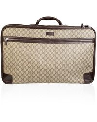 Gucci Monogram Canvas Web Koffer Travel Tas - Bruin