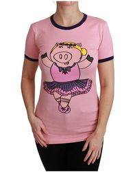 Dolce & Gabbana Year Of The Pig Top Cotton T-shirt - Roze
