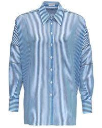 Brunello Cucinelli Chemise rayée avec détails Monile - Bleu