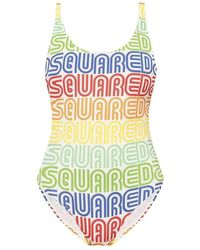 DSquared² One-piece Swimsuit With Logo - Geel