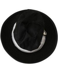 CoSTUME NATIONAL Classic Wide Brim Floppy Panama Hat - Noir