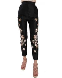 Dolce & Gabbana Silk Floral Embroidered Trousers Slim Pants - Zwart