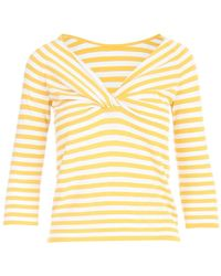 Anneclaire Striped Sweater W/knot - Geel