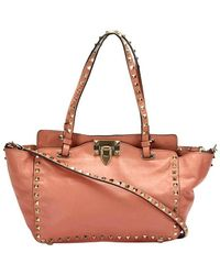 Valentino Pre-owned Leather Rockstud Tote Bag Orange - Oranje