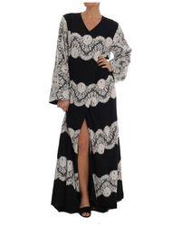 Dolce & Gabbana Silk Bloemen Kant Kaftan Jurk - Wit
