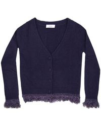 Jucca Cardigan with fringes J3011104-885 - Bleu