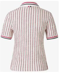 Thom Browne - Striped Polo Blanco - Lyst