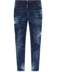 DSquared² Relax Rauw Randje Crotch Jean' Jeans - Blauw