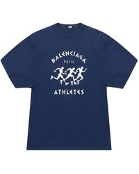 Balenciaga Gedrukte T-shirt - Blauw