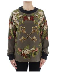 Dolce & Gabbana Key Floral Print Silk Sweater - Verde