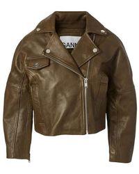 Ganni Cropped Biker Jacket - Bruin