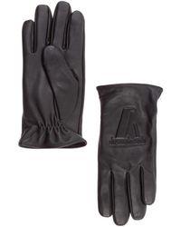 Emporio Armani Men's Leather Gloves - Zwart