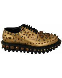 Dolce & Gabbana Derby Crystals Shoes - Gelb