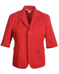 Comme des Garçons Cotton Denim Single Breasted Women's Jacket - Rood