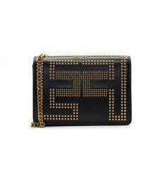 Elisabetta Franchi Shoulder Clutch Bag With Studded Logo - Zwart