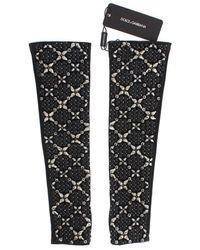 Dolce & Gabbana Leather Clear Crystal Handschoenen - Bruin