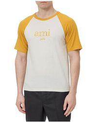 AMI T-shirt With Logo - Naturel