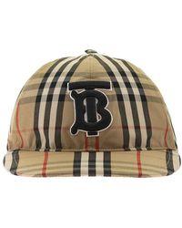 Burberry Monogram Motif Vintage Check Cotton Baseball Cap - Naturel