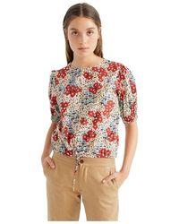 Thinking Mu Short-sleeved Floral Organic Cotton Blouse - Iris - Naturel