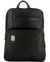 Piquadro Akron 14.0 Expandable Laptop Backpack - Zwart