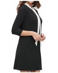 Part Two Vestido evasé con cuello anudado en contraste Negro