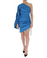 The Attico One-shoulder asymmetric dress Azul