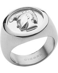 DIESEL Time Frames Dx1211 Ring Men Steel - Grau