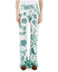 Alanui Tie-die jeans with feathers - Blanc