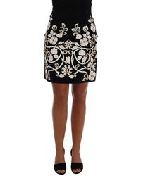 Dolce & Gabbana Crystal Floral Kokerrok - Zwart