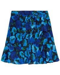 The Kooples Jupe Courte Soie Imprimé - Blauw