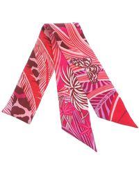 Hermès Printed Twilly Silk Scarf - Roze