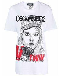 DSquared² Portrait-print T-shirt - Wit