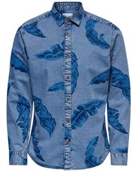 Only & Sons Onslukas Floral Chambray Shirt - Blauw