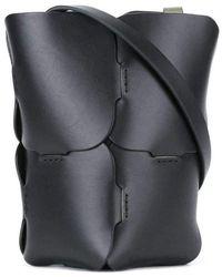 Paco Rabanne Hobo Puzzle Bucket Shoulder Mini Leather Bag - Zwart