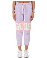 Gcds Women's Sport Tracksuit Trousers Logo Band - Paars