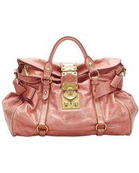 Miu Miu Vintage Vitello Lux Bauletto Aperto Leather Satchel - Pink