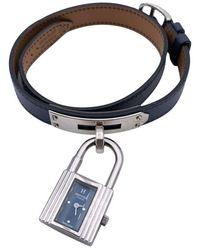 Hermès Paris Leather Silver 925 Double Tour Kelly Watch Leather - Blu
