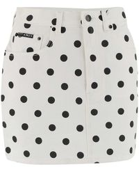 Marc Jacobs White Denim Mini Skirt By Featuring An All-over Black Polka Dot Print. Model Characterized By Belt Loops, Five - Wit